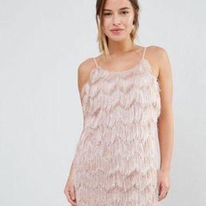 True Decadence Petite Dress blush fringe size 6
